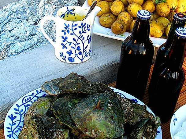 Ansjovistopping till färska ostron