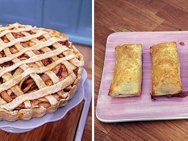 Apple-pear caramel pie och rabarberkompottsrullader med smak av ingefära