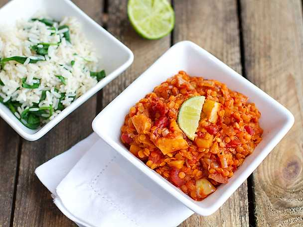Asiatisk linsgryta med chili och ingefära