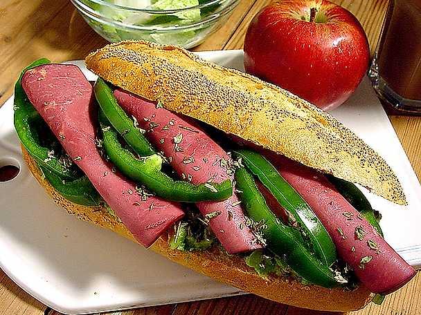 Baguette med rökt kött