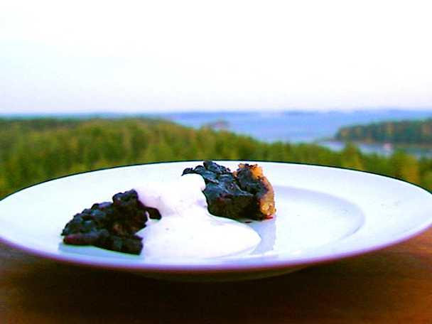Blåbärspaj med vaniljgräddfil