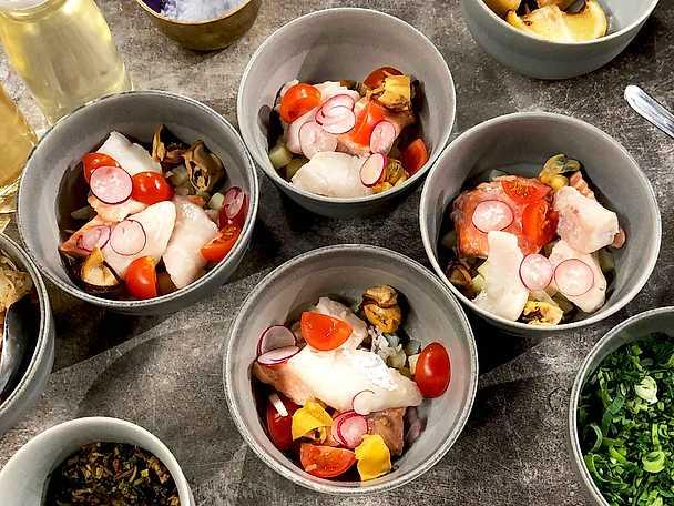 Blåmusselgryta med fisk och grönsaker