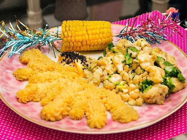 Blomkålsbuketter med chipotlemos och majs