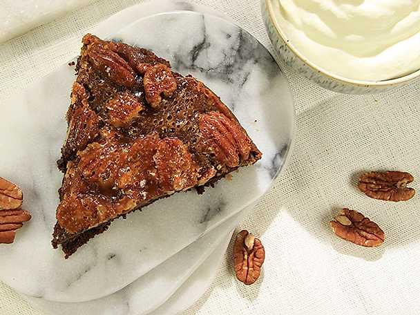 Brownie med pekannötstäcke