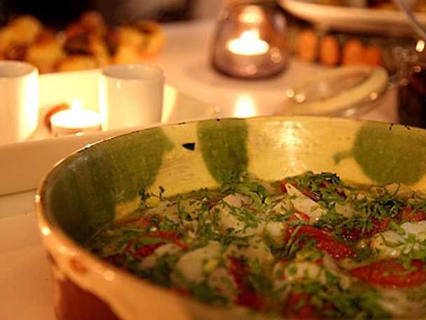 Ceviche på pilgrimsmussla