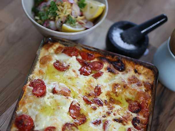 Charklasagne med tomat och mozzarella