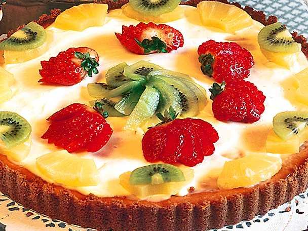 Cheesecake med bär och frukt