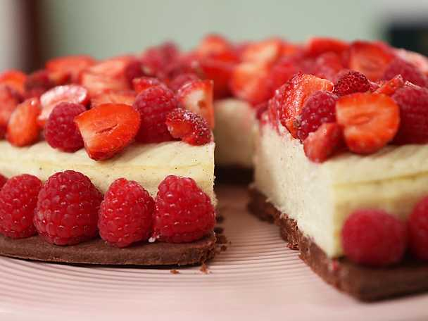 Cheesecake med krispigt chokladkex