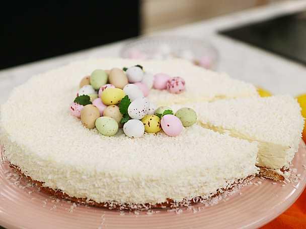 Cheesecake på knäckig kokosbotten