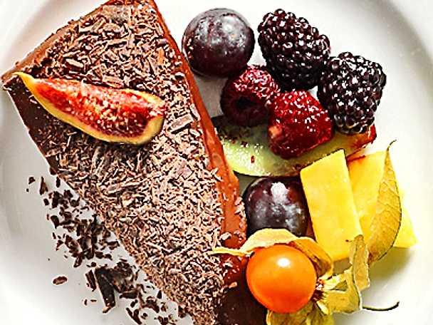 Chokladtårta med chokladflagor