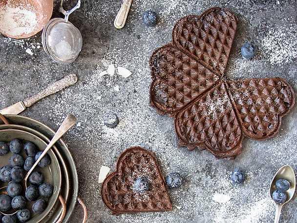 Chokladvåfflor med blåbär