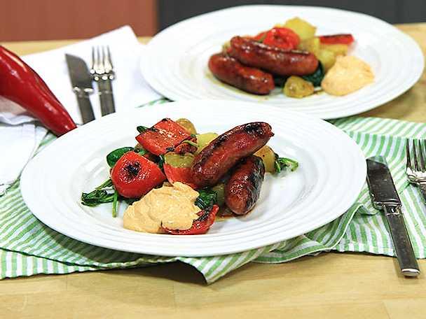 Chorizo med potatissallad och mojo rojo