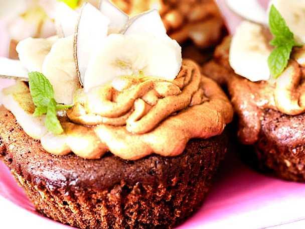 Cupcakes med bananer och konjakfrosting