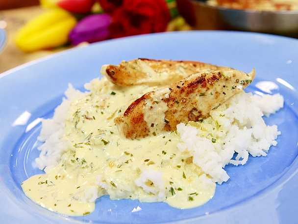 stekt kycklingfile med ris