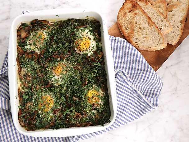 Eggs florentine i ugn