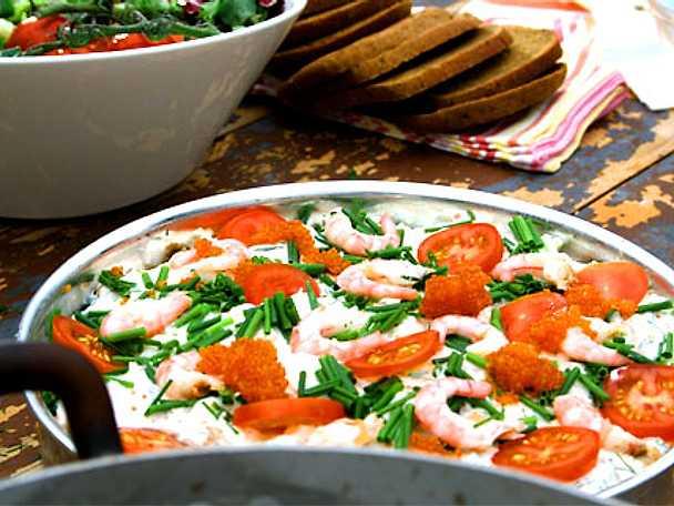 Ernsts skaldjurstårta med parmesan och kesella