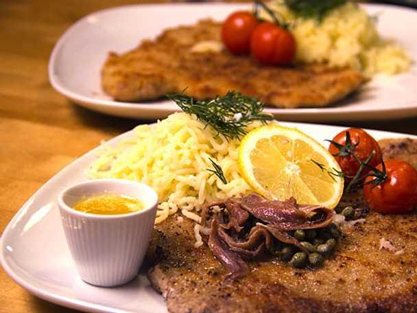 Falsk wienerschnitzel med pressad potatis