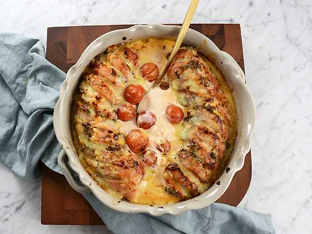 Faluish i ugn med het chilisås