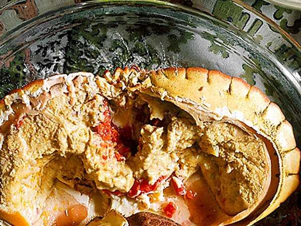 Färsk krabba med örtsås