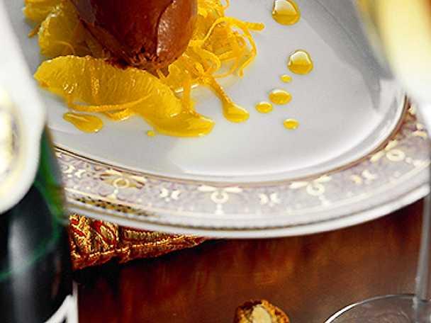 Filéade apelsiner med chokladglass