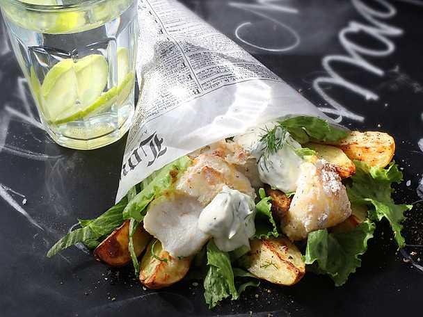 Fish and chips med klyftpotatis
