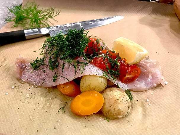 Fisk i paket med dill och citron