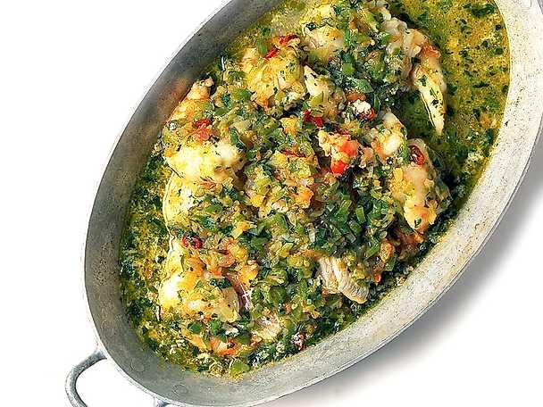 Fisk och jätteräkor med grönsaker