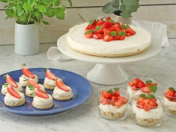 Flädercheesecake med drömmar på 3 sätt