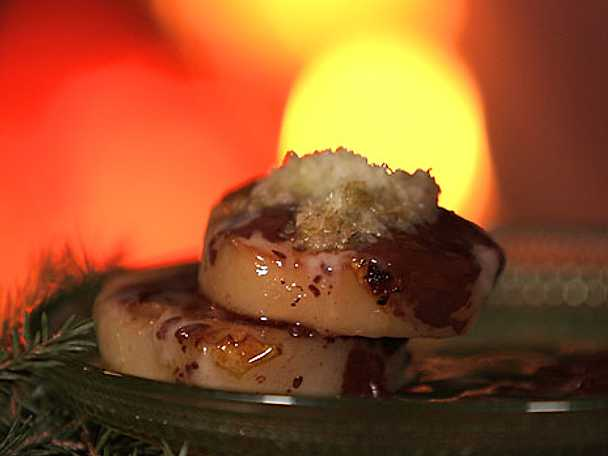 Flamberade päron med mintchoklad