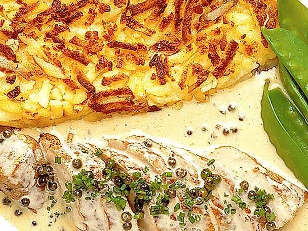 Fläskfilé med grönpepparsås
