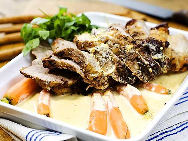 Fläskkarré med senapssås och äppelmos