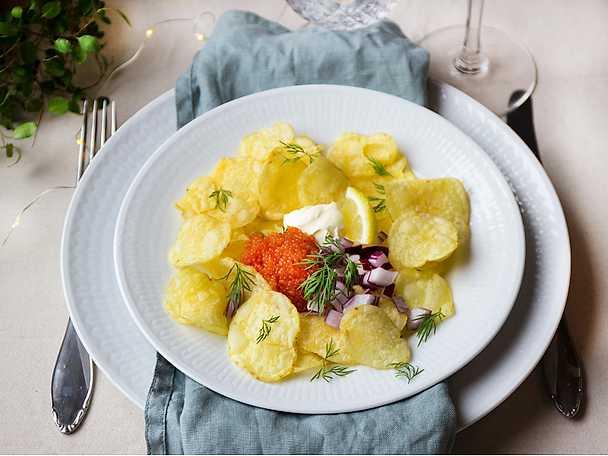 Förrätt på 5 minuter - Chips med rom, citroncrème och dill