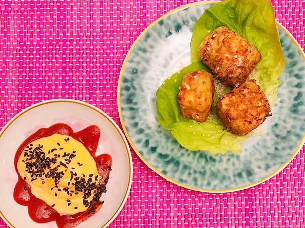 Friterad tofu med kikärts- och srirachamajonnäs