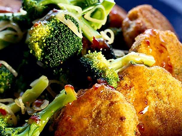 Friterade skink-ost-grönsaksbullar