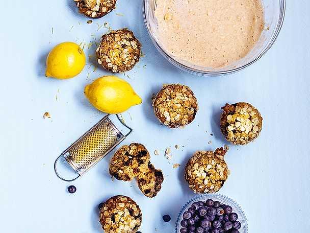 Frukostmuffins med blåbär och citron