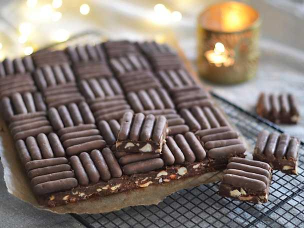 Fudge med nötter och chokladfingrar