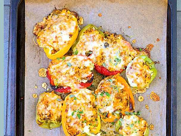 Fylld paprika med chorizo, majs och fetaost