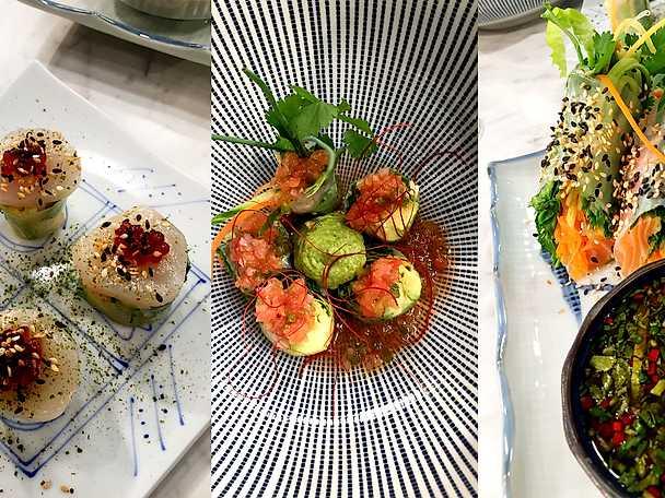 Garden rolls med fjordlax och chaoton, pilgrimsmussla och piri piri, avokado och tomatsalsa
