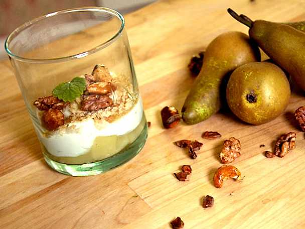 Getostcremé med inkokta päron