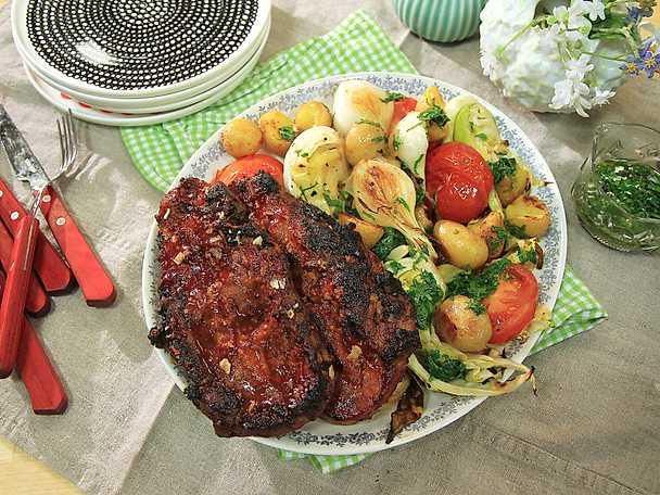 Glazead fläskkarré med grillade grönsaker