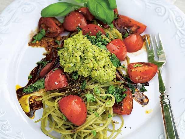 Godaste GI-spaghettin med balsamicotomater