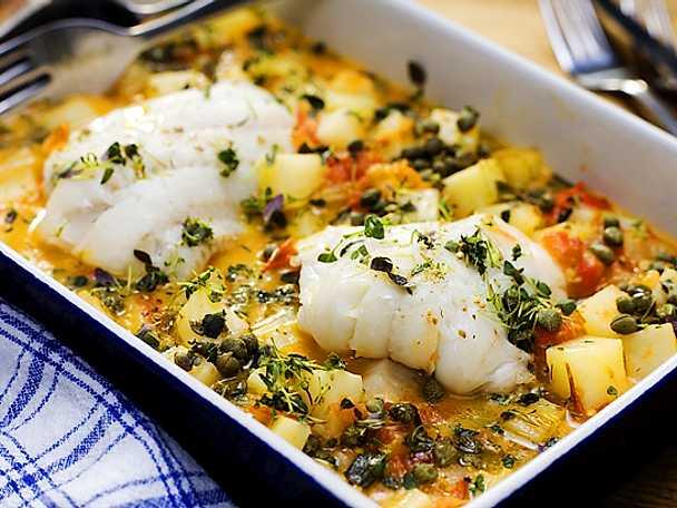 Gös med smör- och citronbrässerad potatis