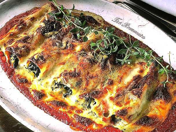 Gratinerad cannelloni med spenat och keso