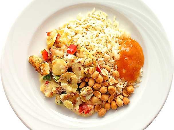 Gratinerad fläskfilé med banan och curry