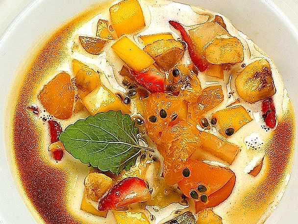 Gratinerad sabayon med frukt