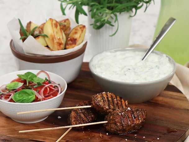 Grekisk vegokebab med tsatsiki