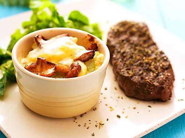 Grillad biff  med potatisgratäng