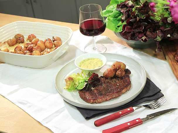 Grillad entrecôte med bearnaise och rostad färskpotatis