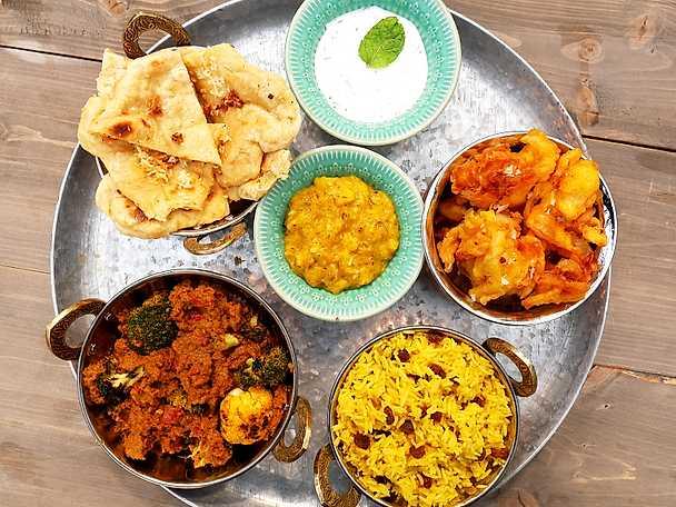 Grillad Indisk currytallrik