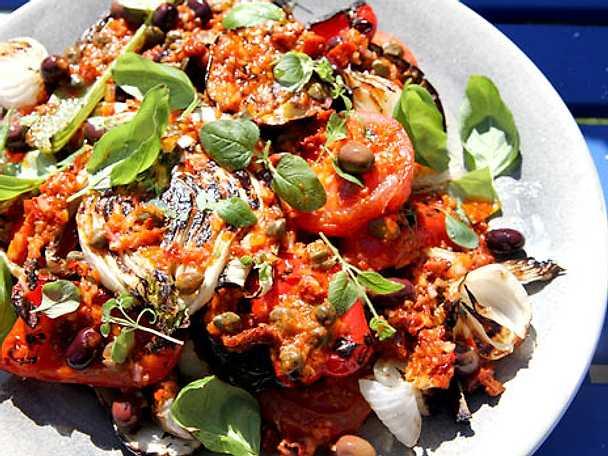 Grillade grönsaker med pikant vinägrett